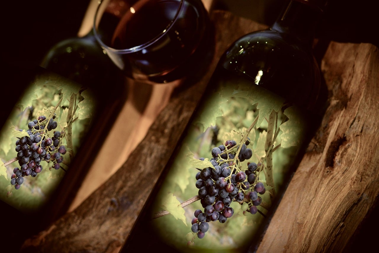 red wine grapes and bottles