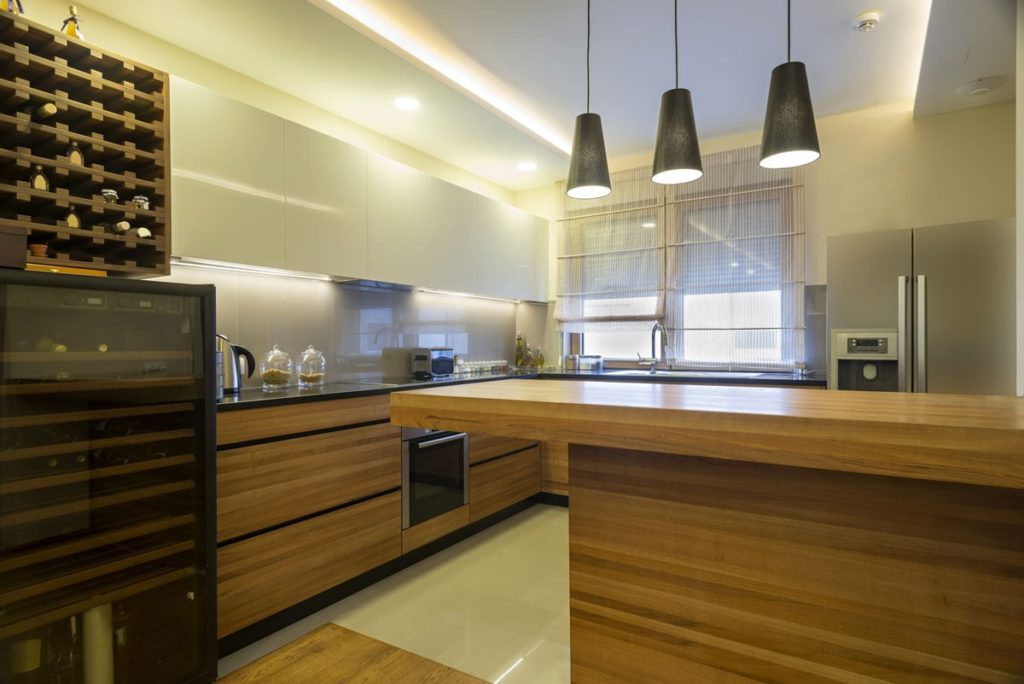 modern kitchen with wine fridge